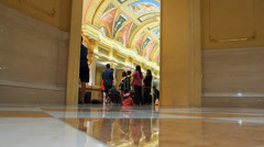 The Venetian Macau Casino Hotel lobby with Mainland Chinese guests China Asia Stock Footage