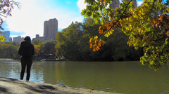 People Enjoying Lake in Central Park Stock Footage