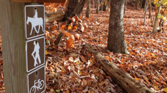 Bicycle, Horseriding, and Hiking Sign on Trail Stock Footage