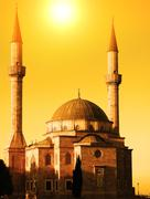 Mosque with two minarets in Baku, Azerbaijan at sunset Stock Photos