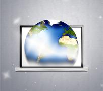 Computer planet earth 3d illustration Stock Illustration
