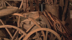 Wooden wheels and barrels Stock Footage
