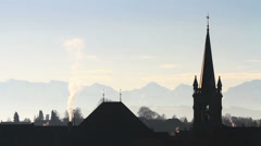 Stock Video Footage of Roofs and chimneys in Bern, backlight