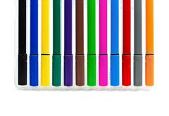 multicolored felt-tip pens on white background - stock photo