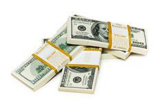 Ten thousand dollar stacks on the white - stock photo