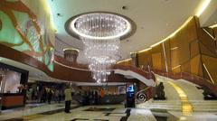 Grand Lisboa casino Hotel Lobby exhibition hall China Asia Stock Footage