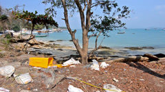 Beach Pollution. Heavenly Beach and Wastes. Stock Footage