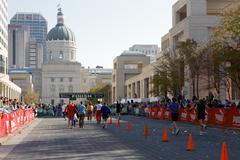 People running in the indianapolis monumental marathon. Stock Photos