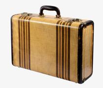 old vintage rigid frame suitcase - stock photo