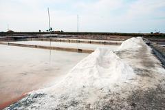 Salty evaporation ponds in aveiro, portugal Stock Photos