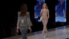 Sexy model fashion show side shot - slow motion Stock Footage