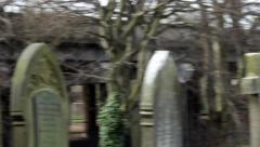 Old graveyard - Witton Cemetery - Birmingham, UK. Panning left. Stock Footage