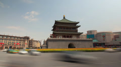 View of bell tower and street /xian,shaanxi,China Stock Footage