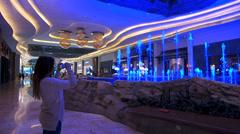 Macau Hotel Casino luxury shopping mall Fountain Show China Asia Stock Footage
