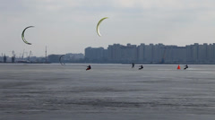 Race on snowkiting Stock Footage
