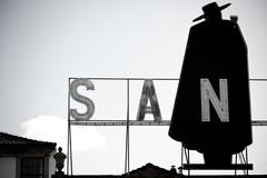 porto, portugal - january 21, 2013: sandeman advertising signboard - stock photo