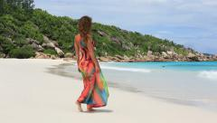 Attractive woman on the exotic beach Stock Footage