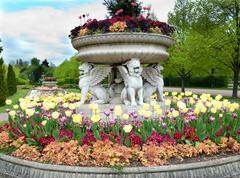 Flowerbeds in a formal garden Stock Photos