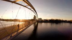 Modern bridge. magic hour light. aerial view. flying Stock Footage