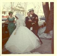 Marine gets married 1960s - stock photo