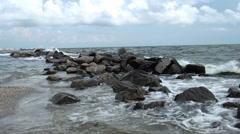 Stones on a seashore Stock Footage