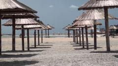 Stock Video Footage of Antisun shelters in a resort on the sea of Azov