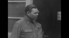 WW2 - German Concentration Camp Belsen - UK Soldiers Visit 01 Stock Footage