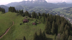 Farmhouse and pan to Kitzbühel Stock Footage