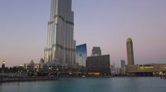 Time Lapse Dubai iconic futuristic Burj Khalifa Dubai lake UAE Stock Footage