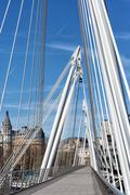 albert bridge london over thames river - stock photo