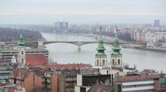 Traffic on Margaret Bridge in Budapest fast forward Stock Footage