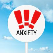 anxiety warning road sign - stock illustration