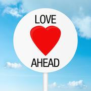 love ahead road sign - stock illustration