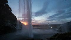 Seljalandsfoss Waterfall in Iceland sunset timelapse Stock Footage