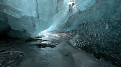 "Ice cave ""Crystal Cave"" glide through in Skaftafell, Iceland Stock Footage"