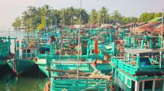 Wooden fishing boats parked. sihanoukville, cambodia Stock Footage