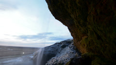 Seljalandsfoss Waterfall in Iceland sunset Stock Footage