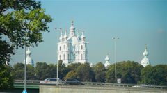 Smolny cathedral on Neva river quay Stock Footage