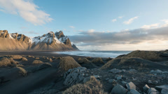 Timelapse of mountains and ocean in Stokksnes, Iceland Stock Footage