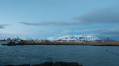 Town and mountain at night timelapse in Hofn, Iceland Stock Footage