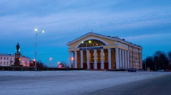 Evening view on Theater of Russian Drama, Petrozavodsk, timelapse (hyperlapse) Stock Footage