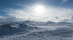 Timelapse on clouds and snow valley in Iceland Stock Footage