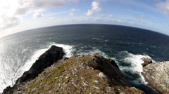 Mizen Head Pennsula and Atlantic Ocean, County Cork, Ireland Stock Footage