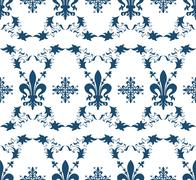 seamless blue royal vector texture with fleur-de-lis for vintage design - stock illustration