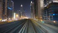 Stock Video Footage of Stunning Time Lapse POV Dubai elevated Rail Metro system Sheikh Zayed Rd UAE