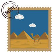 Old vintage postal stamp with egyptian pyramids, famous landmark,vector Stock Illustration