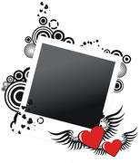 Grunge valentine photo frame with two hearts, vector illustration Stock Illustration
