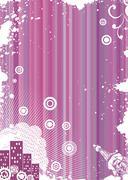 Grunge pink background with urban elements, vector illustration Stock Illustration