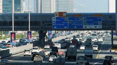 Time Lapse Busy Bustle Rushhour Traffic Dubai Sheikh Zayed road UAE Stock Footage