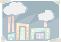 Abstract polluting factories Stock Illustration